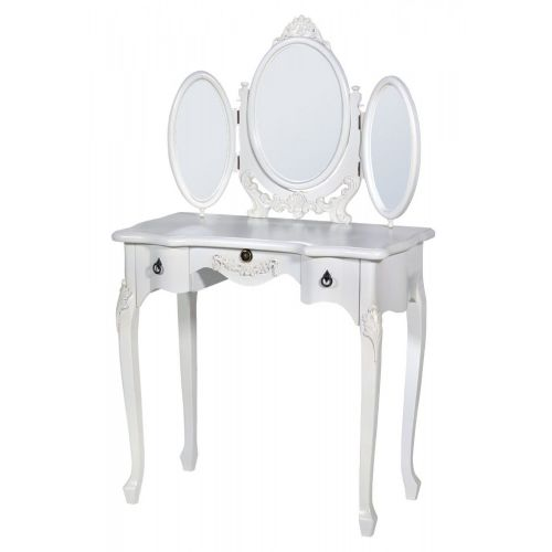 Boudoir Provence Antique White Oval Tri-Mirror Dressing Table